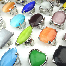 Promotino 20pcs Big Cat-Eye Stones Charms Fashion Rings for Women Mens Wholesale Jewelry Lots A-026(China)