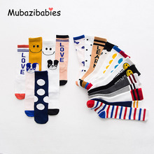 Children 's cotton Baby socks Letter Stripe Classic Cute Cartoon Smiling Face Boys and Girls Knee High Socks Kids Leg Warmer(China)