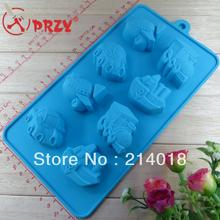 new style Car ship plane modelling 8pcs/set silica gel cake tools chocolate Manufacture mold (CH027)