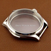 44mm Parnis silver watch case 316L Fit eta 6497 6498 Seagull st36 movement Wristwatch watches