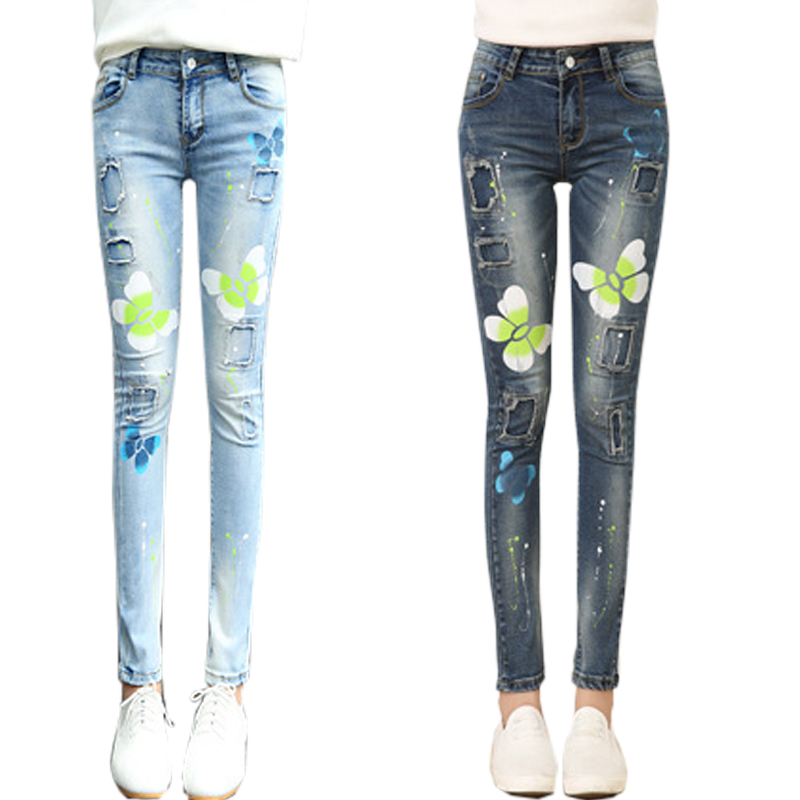 2017 Printing Butterfly Ripped Jeans For Women Mid Waist Denim Pants Skinny Pencil Vintage Blue Slim Zipper Ladies High QualityОдежда и ак�е��уары<br><br><br>Aliexpress