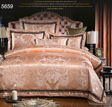 Golden luxury silk bed linens tencel bed clothes European style ruffles bedding set AB side silk cotton quilt cover pretty 5659