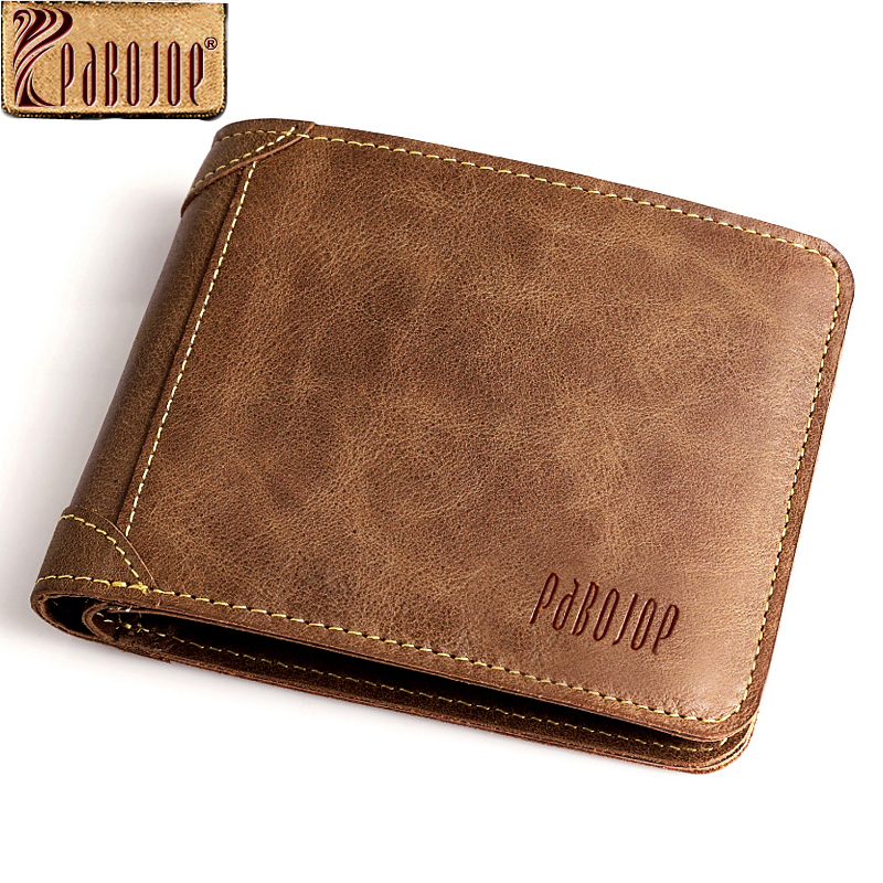 Pabojoe Mens Wallet 100% Genuine Leather Casual Vintage Purse Name Card Credit Card Cash Money Clip Holders<br><br>Aliexpress