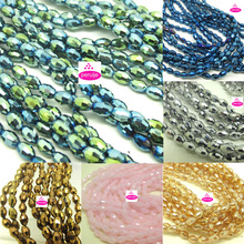 wholesale free ship Grade AAA 350 PC lot 5 String 4*6mm Austria white ray gold Crystal Glass rice Beads r412(China)