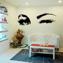 YOYOYU Wall Decal Beautiful Big Eye Lashes Wink Decor Wall Art Mural Vinyl Decal Stickers Interior Design Bedroom Sticker YO-94(China)