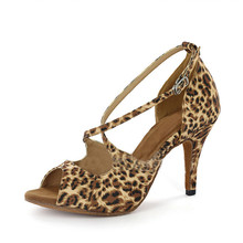 Dancing Shoes Size US 4-12 Flower Leopard Gold And Silver Heel Height 8.5cm Professional Dance Salsa Shoes Latin Women L-134