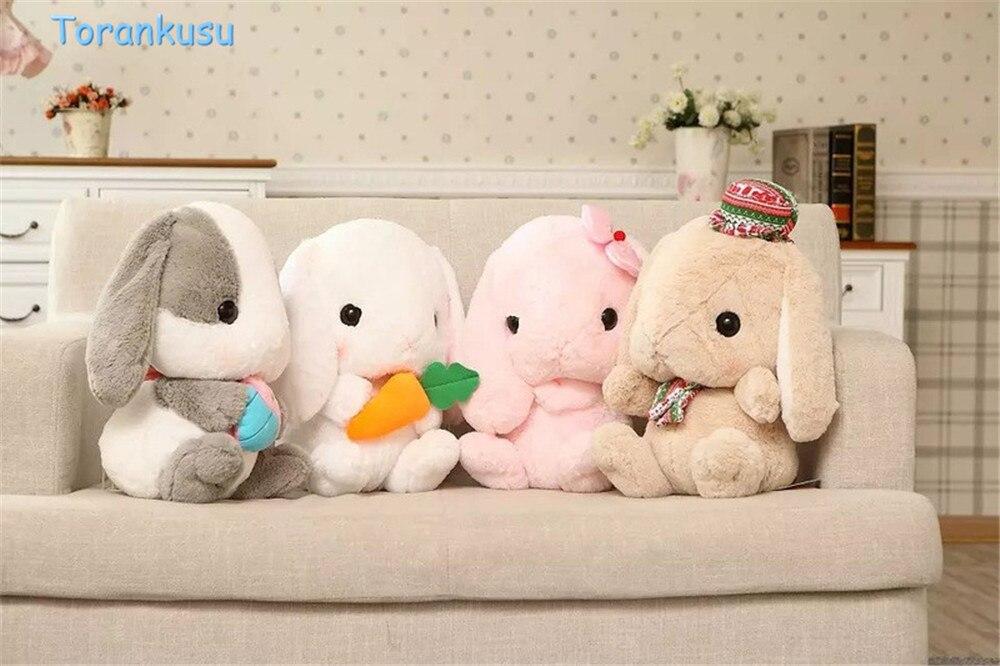 Cute Soft Lop Rabbit Plush Toy Pink Stuffed Plush Rabbit carrot bunny stuffed soft Doll Birthday Christmas Gifts for kids