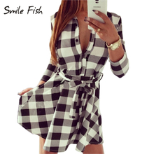 Explosions Leisure Vintage Dresses Spring Autumn Women Plaid Check Print Casual Shirt Belt Elegant Dress Mini Vestidos Q0035