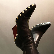 2017 Fall Rodeo High Ankle Boots Studs Rock Style Pointed Toe Genuine Leather Women Boots Wedge brand Pumps Ladies Winter Shoes