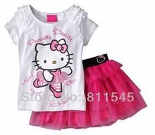 Retail 2016 Summer News Hello Kitty Items T-Shirt Pink Girl Lace Skirt Set the Children's Suits Girls Clothes, Free Shipping!