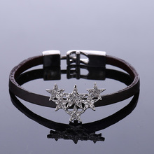 Classic Star Ladies Cubic Zirconia Bangles Bracelets Women For Men Cuff Leather & Black Rope Starfish Wedding Jewelry Silver