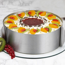 New Arrival Hot Sale Retractable Stainless Steel Circle Mousse Ring Baking Tool Set Cake Mould Mold Size Adjustable Bakeware 12""
