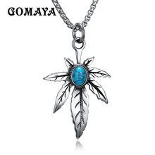 GOMAYA Leaf Blue Stone Men Stainless Steel Necklace Maple Leaf Pendant Collar Punk Jewelry Accessories Statement Necklace(China)