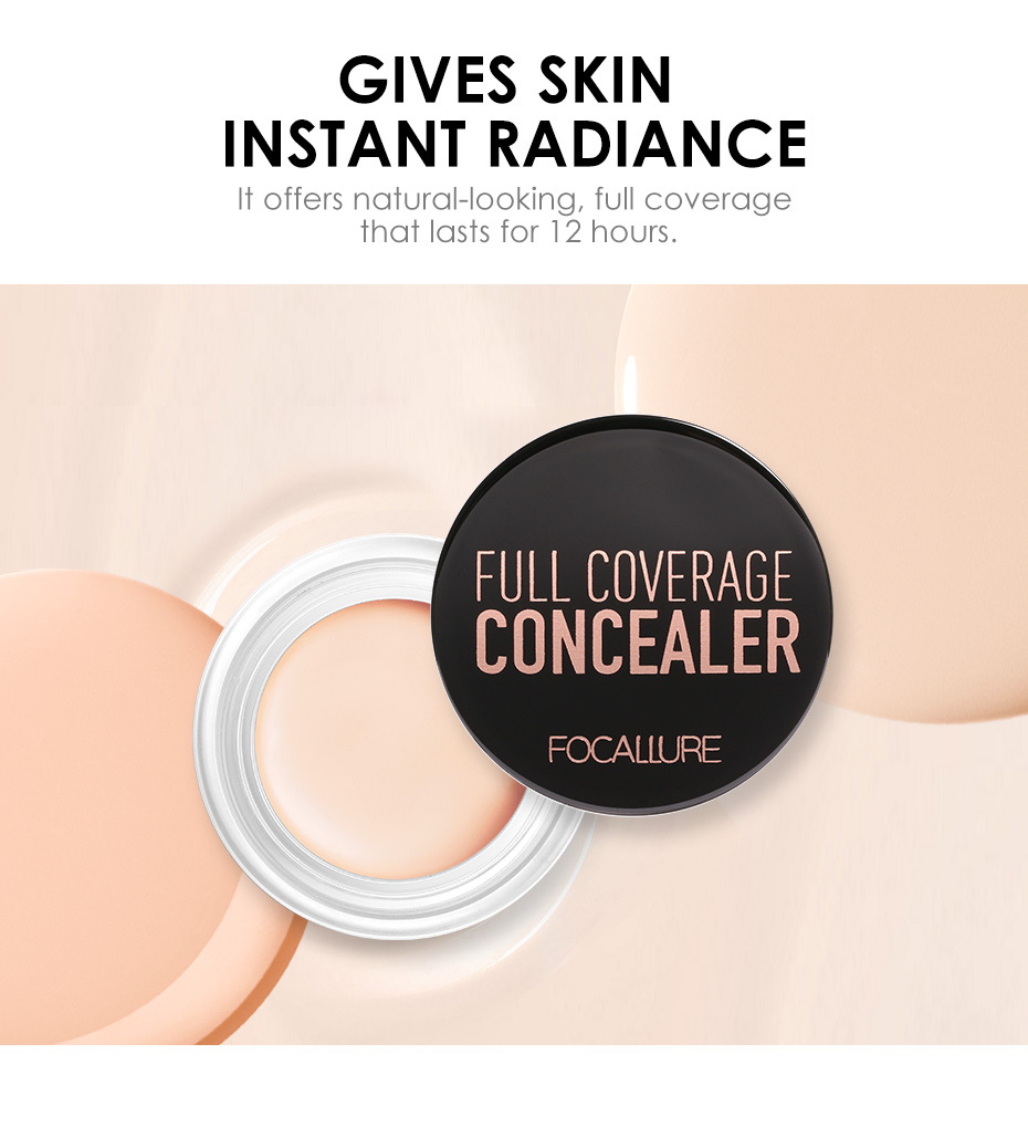 FOCALLURE 7 Colors Full Cover Concealer cream Makeup Primer Cover Foundation Base Lasting Oil Control Cream Concealer 4