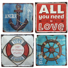 16 Styles Classic Slogan/Music Element Pattern Square Shape Vintage Retro Style Metal Iron Printing Tin Sign Home Decoration(China)