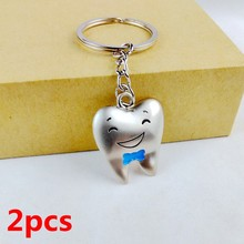 2PCS 2017 cute kawaii tooth shape key chain ring anime keychain novelty items creative trinket charm gift  women men  kids BLUE