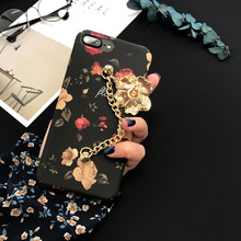 SZYHOME Phone Cases Chinese Camellia Painting for IPhone 6 6s 7 Plus Case Chain for IPhone7 Plus Frosted Mobile Phone Cover Capa