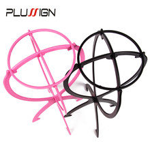 Plussign Black Pink White Adjustable Wig Stands Plastic Hat Display Wig Head Holders Stable Mannequin Head Stand Wig Rack(China)