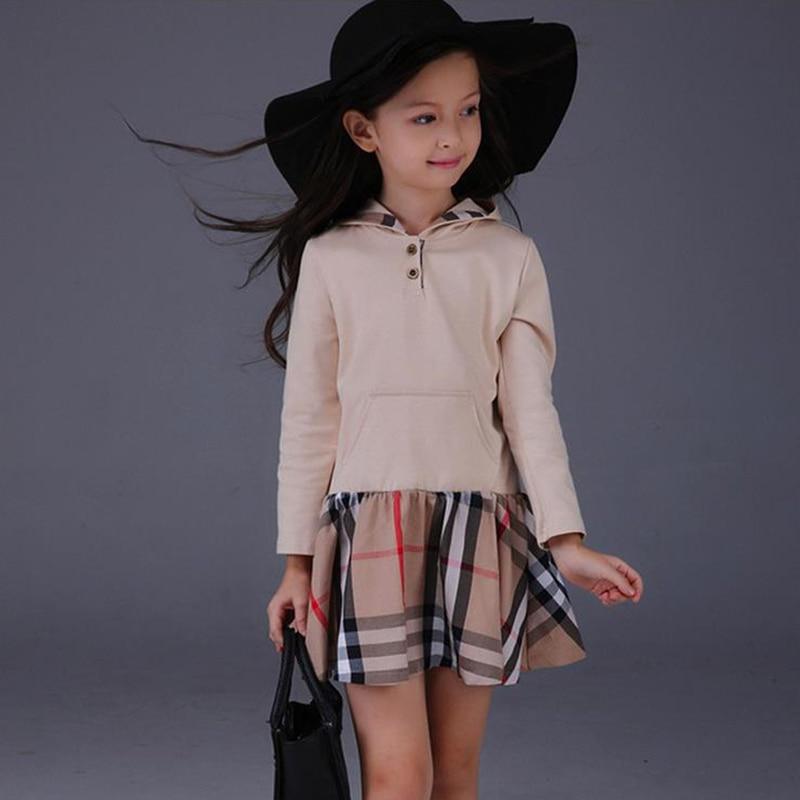 2017 New fashion spring autumn kids baby girls elegant plaid long-sleeve causal dress girls hooded princess dress girls clothes<br><br>Aliexpress