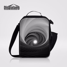 Dispalang Geometric Vortex Pattern Insulated Lunch Bag For Office Kids Lunch Box For School Food Picnic Bag Portable Meal Packag