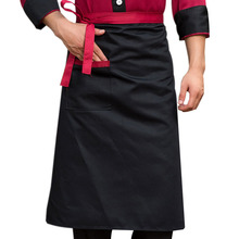 Chef Aprons Kitchen Restaurant Cooking Waist Aprons With Pocket Work Apron Waiter Kitchen Cook Tool U0775(China)