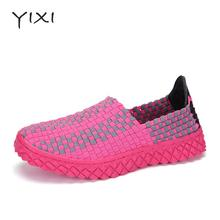 Fashion Handmade Women Casual Shoes Breathable Women Walking Shoes Summer Flat Shoes Women Elastic Woven Slip-on Loafers