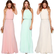 Buy Floral print halter chiffon long dress Women ties back 2018 boho maxi dresses vestidos Sexy beach summer dress
