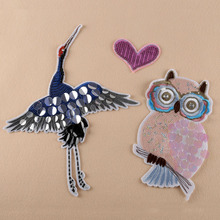 3pcs parches para la ropa Sequined Beaded Patches For Clothes Heart Owl Crane Embroidered Patch Patchwork Dress Jacket Appliques