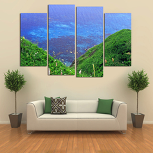 4 PCS Modern Blue Sea Water Canvas Painting HD Seaview And Mountain Painting On Wall Cuadros Decoracion Picture For Living Room(China)