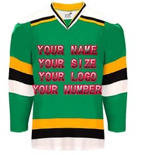 Custom Your ICE Hockey Jerseys Any logo/Name/Number Green/White Sewn On XXS-6XL Embroidery Jersey Wholesale China Free Shipping