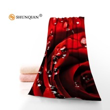 Custom red rose Towels Microfiber Fabric Popular Face Towel/Bath Towel Size 35x75cm, 70x140cm Print your picture