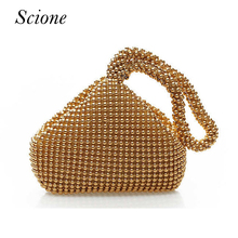 2017 Korea Style Candy color Luxury Evening bags Women tote beaded Wedding Party day clutches wrist bags mini phone holder Li222(China)