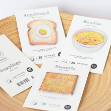 30 Sheets/pack Cute Food Sticky Notes Bread Geometric Stickers Planner Post it Memo Pad Bookmarks DIY Stickers School Supplies(China)