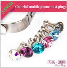 100pcs /bag 2016 new fashion style 3.5MM cell phone dust plugs colorful diamond jack plug for iphone 5s6s6plus for huawei LG