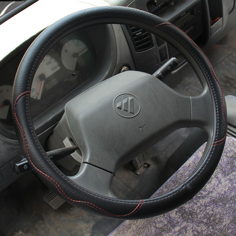 Large size Pu Leather Car Steering Wheel Cover plus wheel hubs for different cars 36 38 40 42 45 47 50cm for trunk bus 2