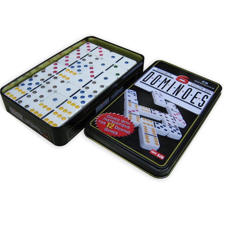 Double 6 Dominoes Metal Box Domino 28PCS Pai Gow Toy Game Table Game Toys for Children and Adults Board Game Dominos<br>