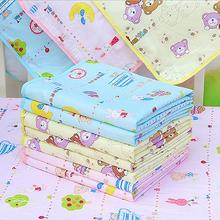 S size Yellow Blue Pink Baby Waterproof Urine Mat Cover Cartoon Cotton Reusable Washable Changing Pad With High Quality(China)