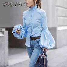 Buy TWOTWINSTYLE Lantern Sleeve Blouse Female Turtleneck Ruffles Single Breasted Slim Shirt Tops 2018 Spring Fashion OL Clothing for $17.70 in AliExpress store