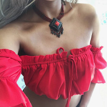 2017 Women Hot Sexy Pleated Summer Crop Chiffon Top Hollow Out Lace Up Tops Shirt Stretchy Ruffles Wrap Club Beach Wear Red