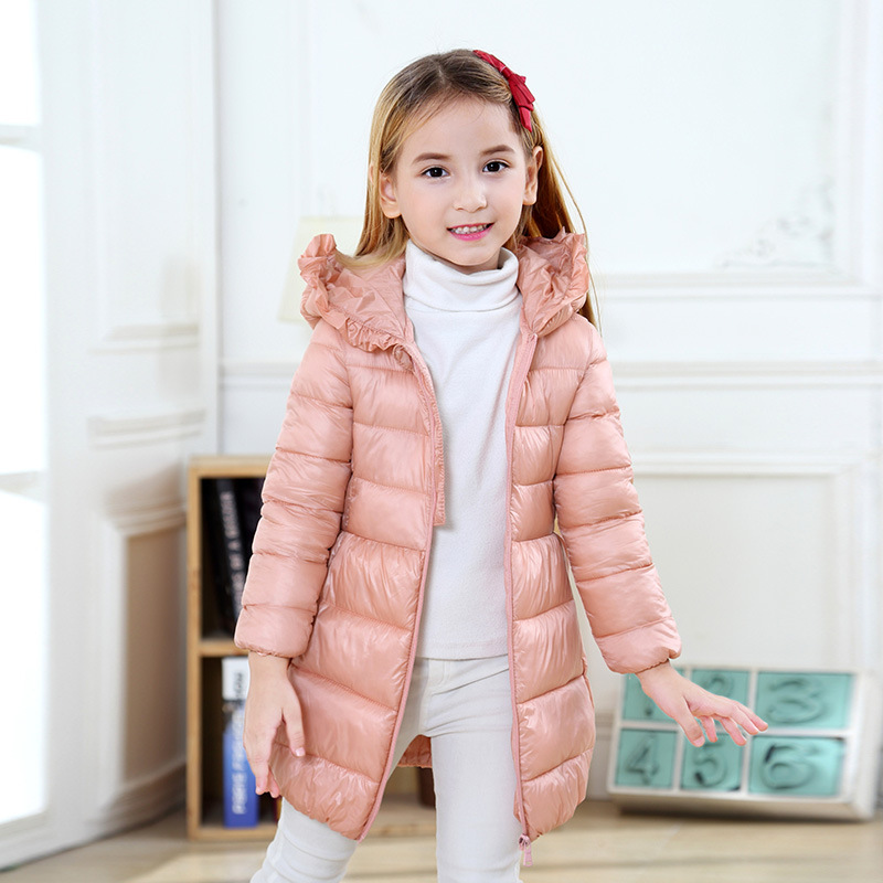 Girls Winter Jacket 3~9T 5 Colors Kids Down Jacket  Cotton Parkas Long Hooded Solid Warm Coat  Girls Clothing Îäåæäà è àêñåññóàðû<br><br>