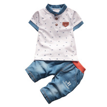 BibiCola baby boys summer clothes newborn children clothing sets for boy short sleeve shirts + jeans cool denim shorts suit(China)
