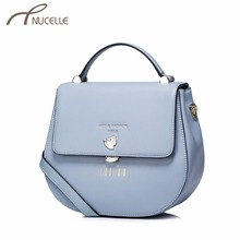 Nucelle Women Split Leather Handbag Fashion Ladies Saddle Leather Tote Messenger Purse Female Bronzing Corssbody Bags NZ4934(China)