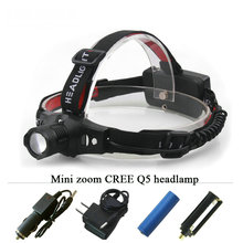 Mini Zoomable Headlamp LED Rechargeable Headlight CREE XPE Q5 Flashlight Head light waterproof 18650 OR AAA hunting Camp Fishing