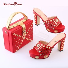 WesternRain 2017 Sapato Feminino Shoes Brand Sandas Sale Ladies High Quality Summer Sandals Italian And Bag Set Promotion Hot(China)