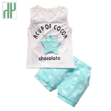 New 2017 fashion Baby Boys Clothes Sets Star Printed Summer Baby Clothing Sets Vest+Pants kids Children Clothes Suit outfit(China)