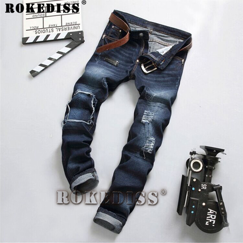 mens skinny jeans 2017 Spring and Autumn New products Hole Slim Skull and crossbones printing pattern Straight pants C187Îäåæäà è àêñåññóàðû<br><br>
