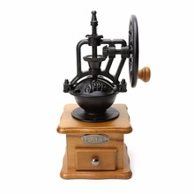 Retro Wooden Manual Coffee Bean Grinder Cast Iron Mill Hand Grinding Hand-crank Roller Coffee Mill Coffee Tools Home Decor