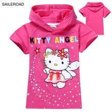 New arrival cartoon hello kitty short sleeves children hoodies kids girl's cotton t-shirt baby girl cat t shirts SAILEROAD