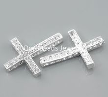 "Doreen Box Lovely 10 Silver color Clear Rhinestone Cross Connectors 36x25mm(1 3/8""x1"") (B21822)(China)"