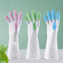 Long Rubber Gloves Latex Kitchen Dish Washing Cleaning Tool Protect Hand Gloves 2017 New Cooking Gloves Kitchen Washing gloves(China)